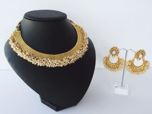 Pearl-Cluster Edged Collar Necklace with Matching Chaand Bali Earrings