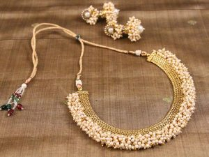 Pearl Cluster Edged Flat Gold Chain
