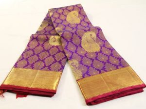 Purple Brocade Pure Kanchipuram Silk Saree