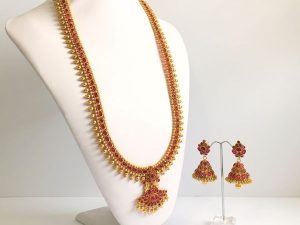 Regal Haaram with Dark Pink Stones & Matching Jhumkas