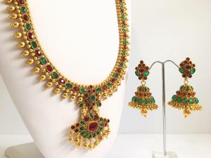 Regal Haaram with Green and Maroon Stones & Matching Jhumkas