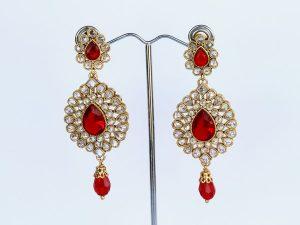 Ruby Red AD Chandelier Earrings