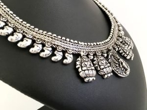 Tribal Temple Oxidized German Silver Necklace – Five Pendants