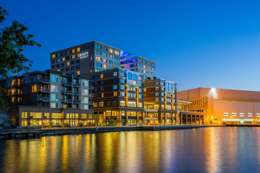 Dock and Hotel at Night