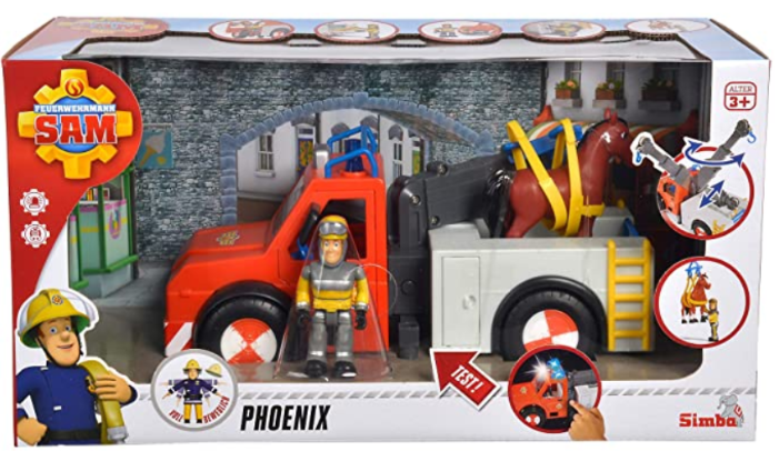 "Simba 109258280 ""Fireman Sam - Phoenix Rescue Vehicle Playset with Figurine and Horse"