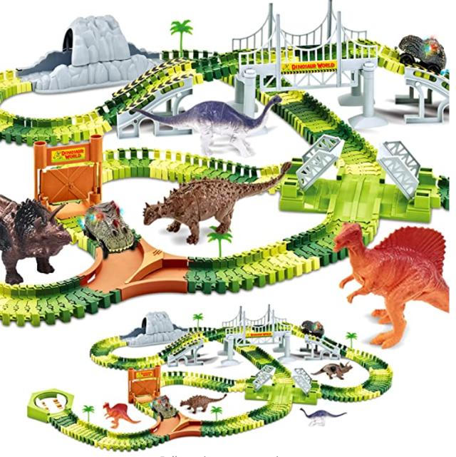 KITOART Dinosaur Toys-258 Pcs Create A Dinosaur World Road Race, Dinosaur Race Track