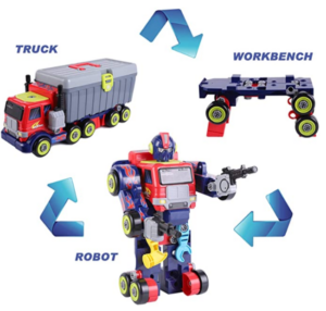 iPlay, iLearn Kids 3 in 1 Transformers Robot Toys, Large-Scale Hero Action Figure, Transfer into Truck & Tool Workbench, Preschool STEM Take Apart Set