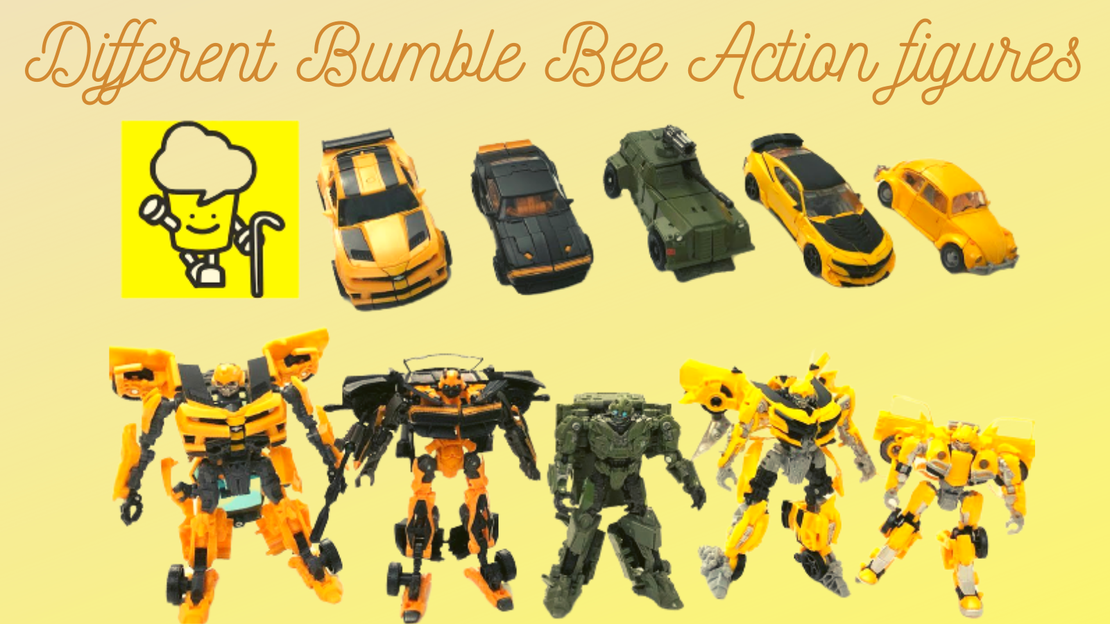 Different Bumble Bee Action Figures.