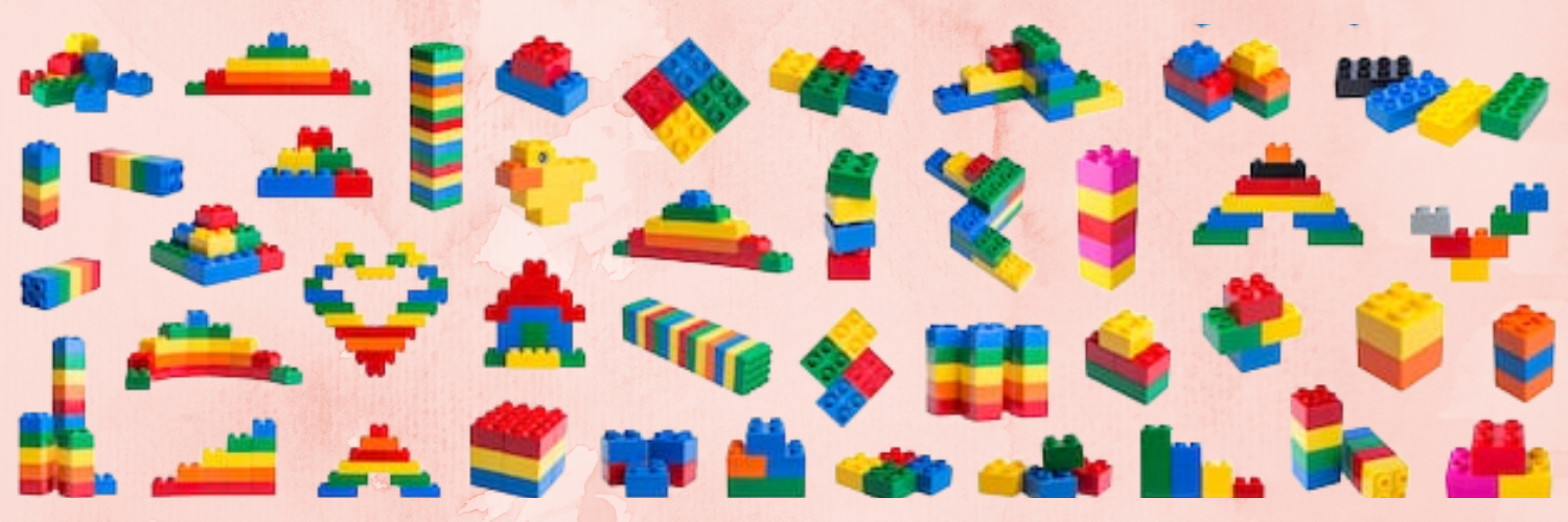 Lego blocks in different shapes, sizes and colors.