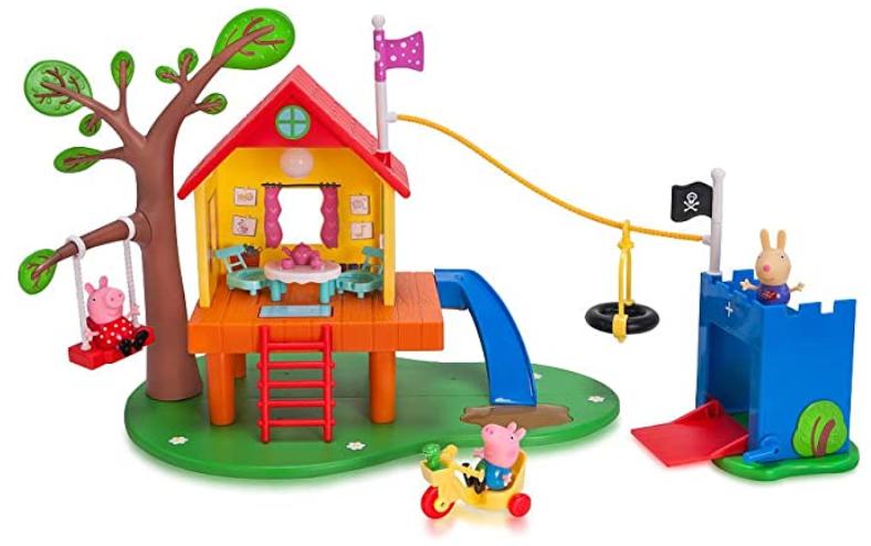 Jazwares Peppa pigs kids toys tree house & George's Fort playset