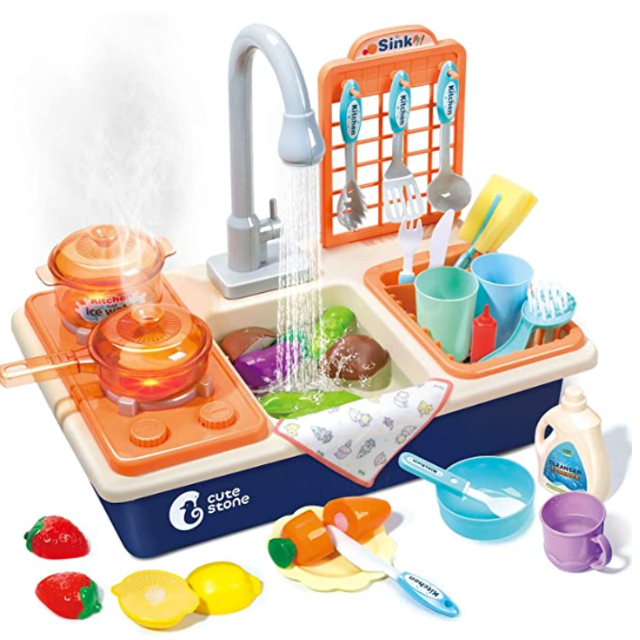 CUTE STONE Pretend Play Kitchen Sink Toys