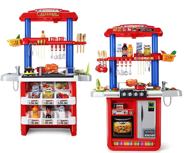 CUTE STONE 2-in-1 Kids Kitchen & Grill Playset