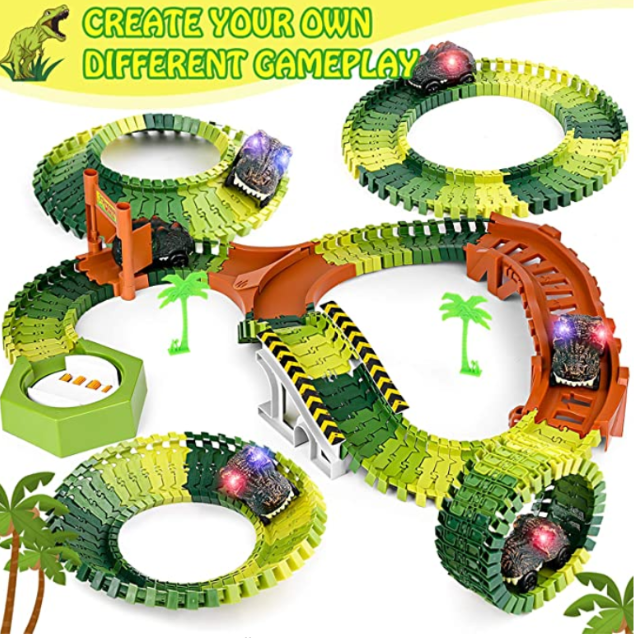 Dinosaur Toys, 258Pcs Create A Dinosaur World Road Race Flexible Track