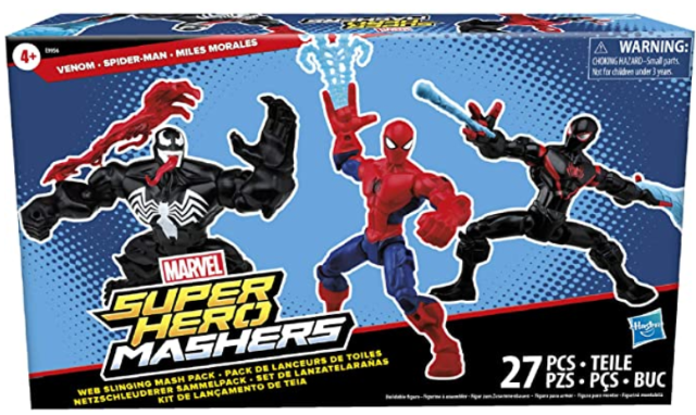 Hasbro Marvel Super Hero Mashers Web-Slinging Mash Collection Pack with Spiderman, Venom and Miles Morales