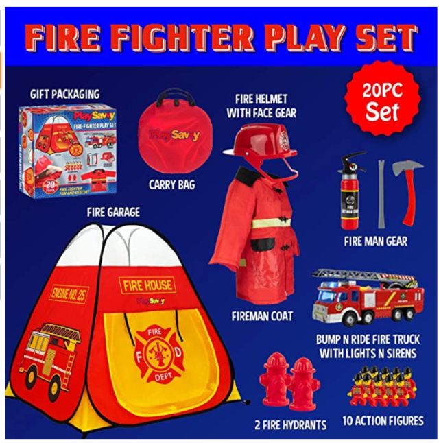 PlaySavvy Pop Up Play Tent & Pretend Fireman Costume for Kids, Toddlers, Boys, Girls
