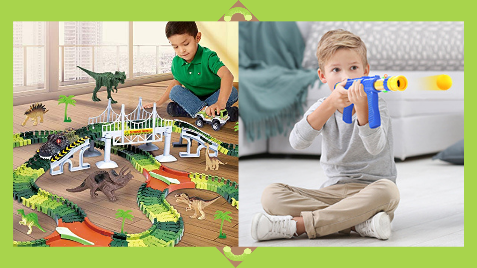 Kids playing with best dinosaur toys.
