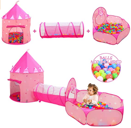 Kids Play Tent for Girls with Ball Pit, Crawl Tunnel, Princess Tents for Toddlers