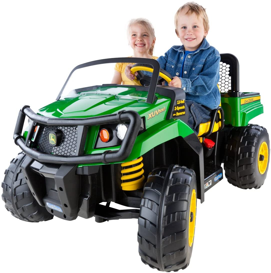 peg perego john deere ground force tractor with 12 Volt battery bundle.
