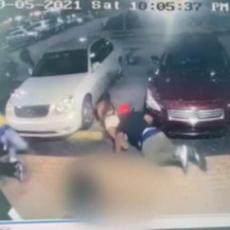 Surveillance video shows people running for cover during mass shooting