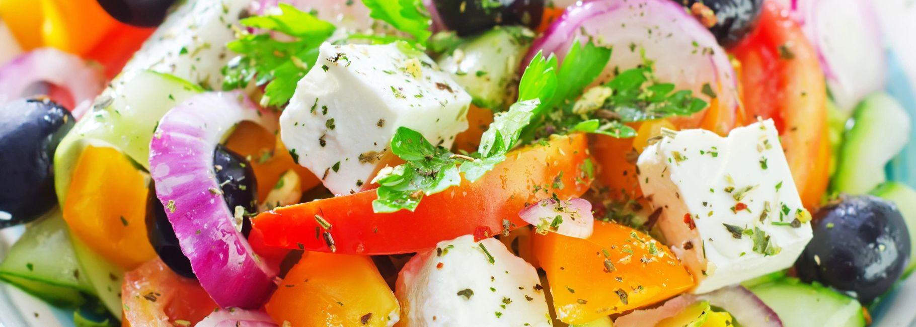 Greek Salad with Oregano Marinated Chicken