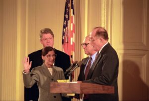 Then-jurist Ruth Bader Ginsburg was confirmed by the 103rd Congress 1st session on August 3, 1993. Ginsburg, pictured here, takes the Oath of Office administered by Chief Justice Rehnquist with President Clinton and her husband, Martin Ginsburg, watching. Source: National Archives and Record Administration