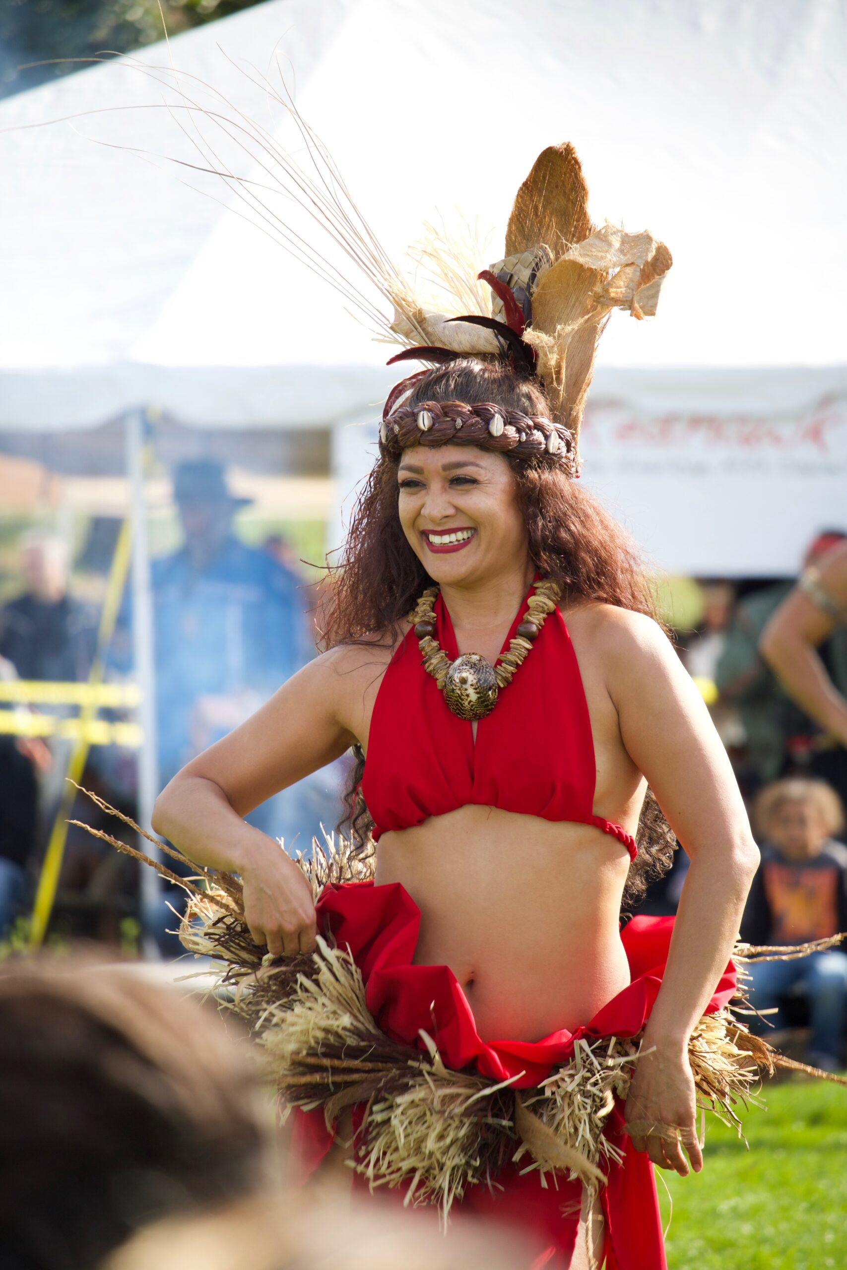 There is a variety of people, cultures, and ethnicities that make their way to this celebration of Indigenous peoples. From groups based in New York to people from around the world, communities come together for two days to celebrate being native and the beauty of their people and culture. Pictured in this photo is Kaina Quenga from her group Te Ao Mana in New York, run by Hawaiians from Hawaiʻi who teach Tahitian dance and bring a taste of the islands to the city. It's important to honor all the different Indigenous peoples from around the world because we are all in this together. It takes people coming together to honor, respect, and understand each other to make long-standing change. Connections made can last lifetimes and through different movements around the world, such as Standing Rock and Protect Mauna Kea. This support creates strong and perpetual bonds because it is rooted in the love for the land and wanting to protect it.