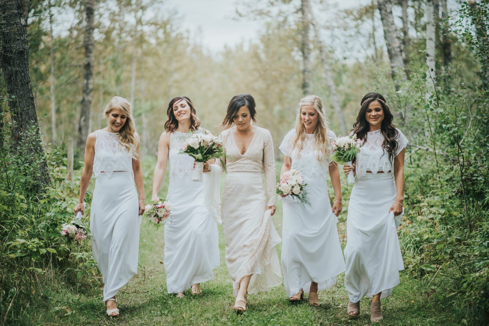All dresses made by the mother of the bride!