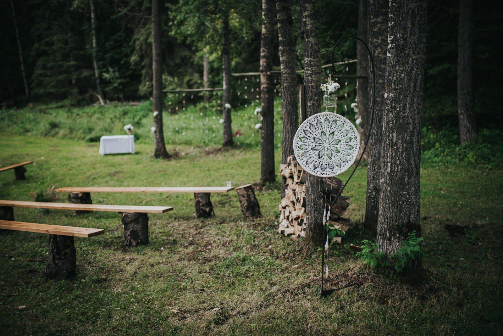 Beautiful handmade details for this woodland wedding.