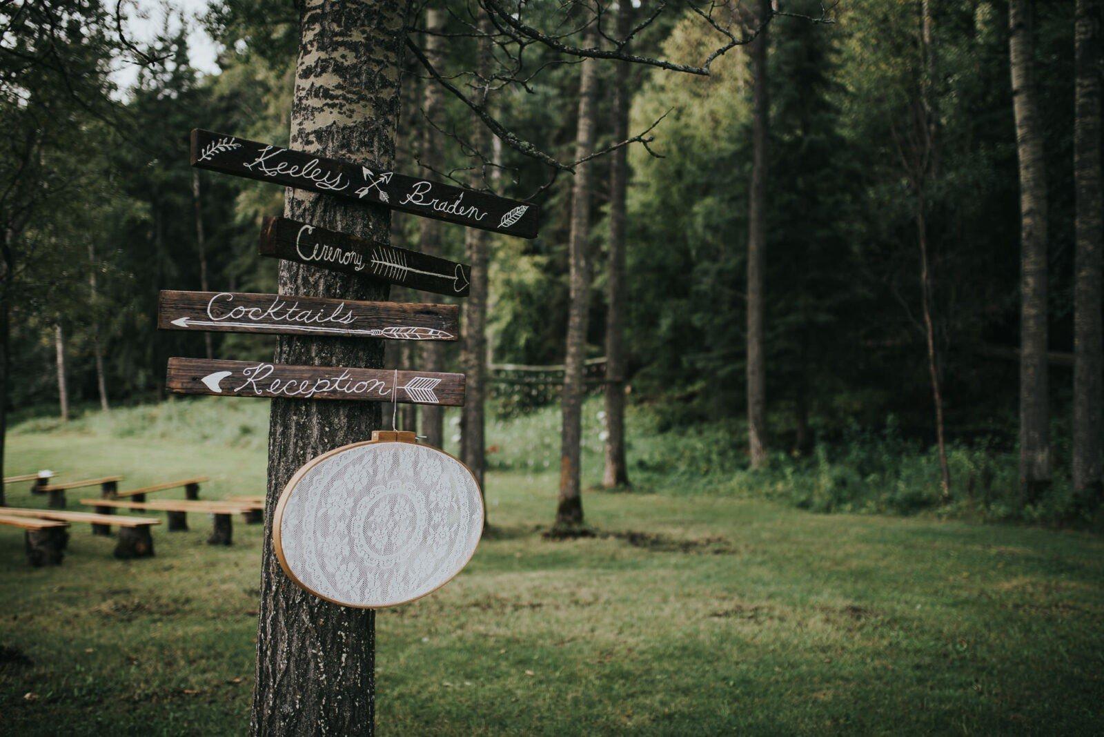 Wooden handmade forest wedding signs
