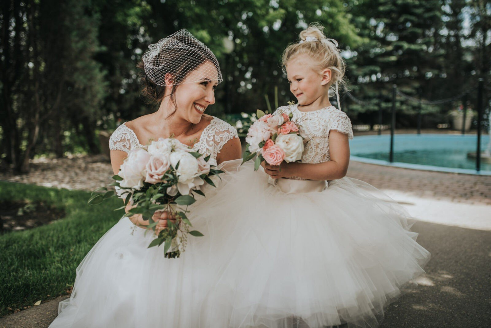 cutest flower girl and bride
