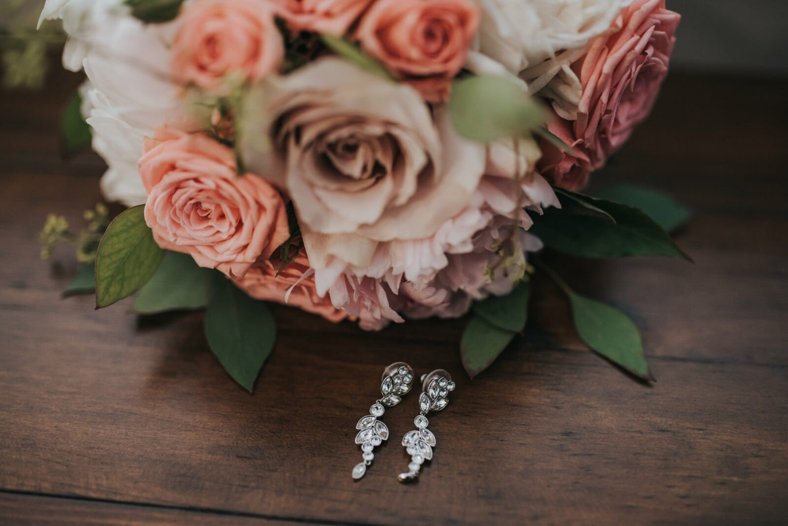 pink coral wedding bouquet