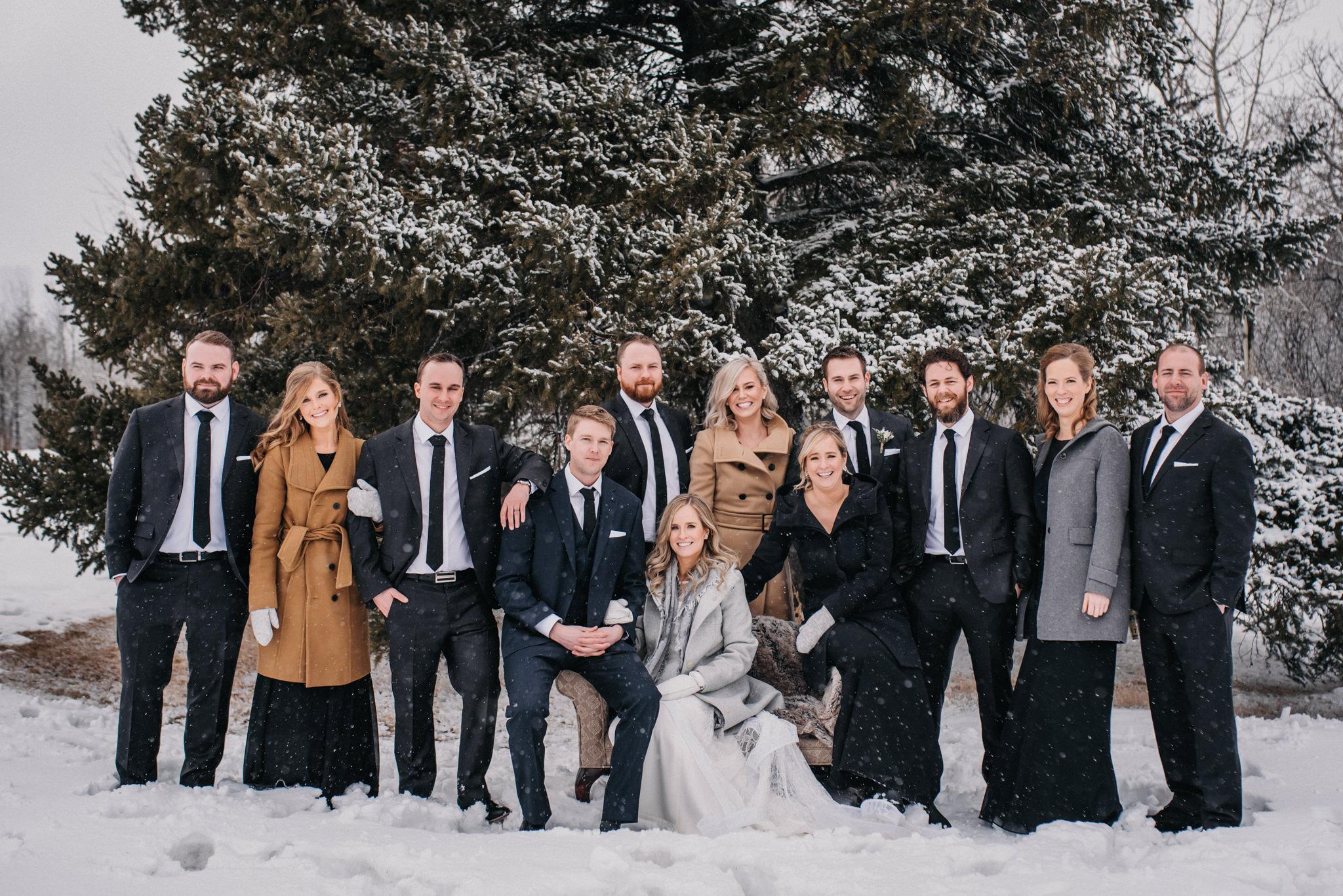 snowy wedding party