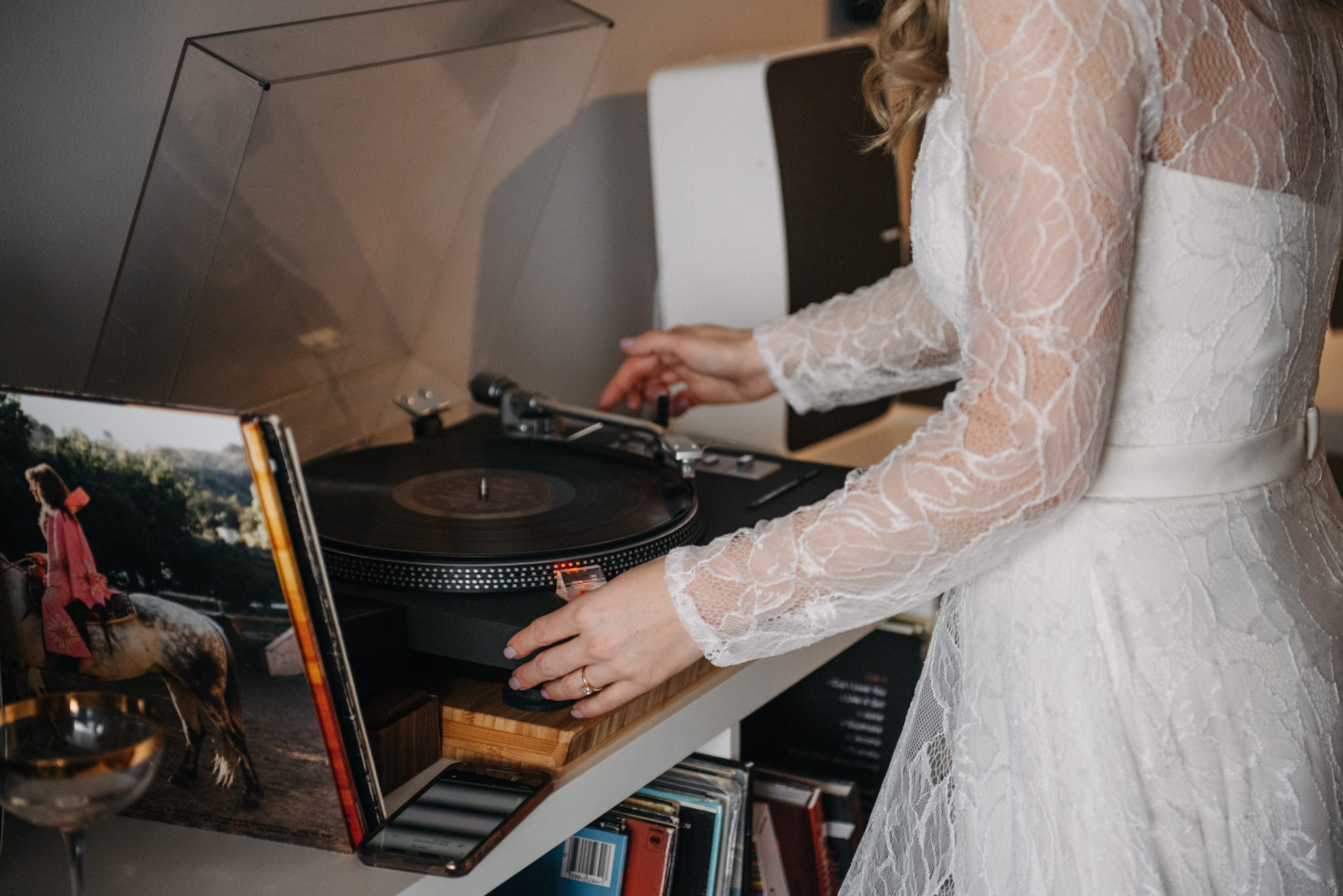 bride picking her records