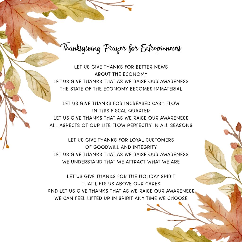 Thanksgiving Prayer for Entrepreneurs