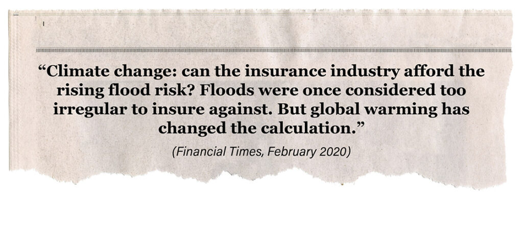 image of newspaperFinancial Times headline about climate change and floods