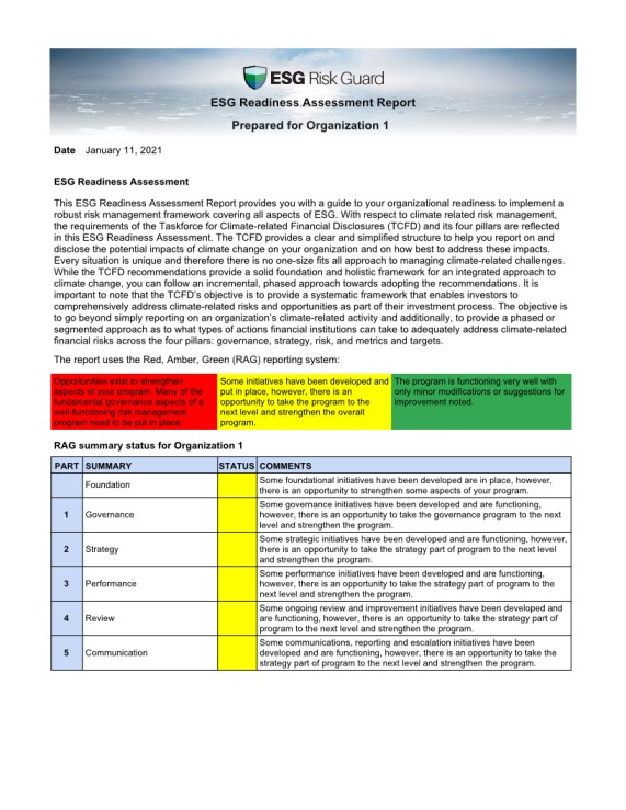 ESG readiness assessment report
