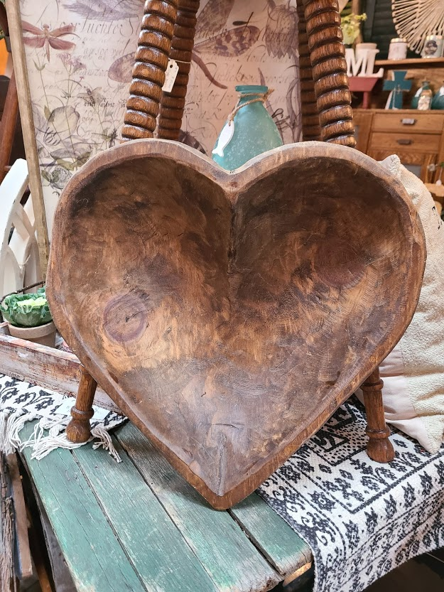 wooden heart-shaped bowl