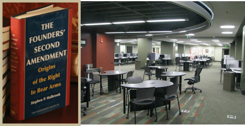 A book entitled 'The Founders' Second Amendment : Origins of the Right to Bear Arms' quietly sits on a bookshelf on the fourth floor of Florida State University's Strozier Library