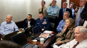 Situation Room: President Obama and his national security staff monitor Operation Neptune Spear, during which it is alleged Osama bin Laden was killed.