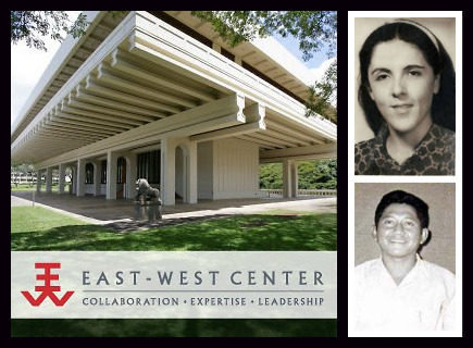 President Obama's alleged mother Stanley Ann Dunham (Top R) and her second husband Indonesian Army civilian employee Lolo Soetoro (Bottom R) were East-West Center graduate degree fellows. (Image credits: East-West Center, Wikipedia)