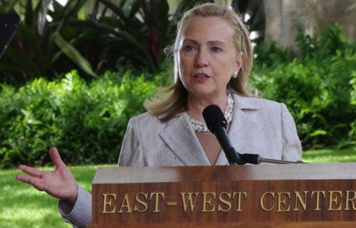 """US Secretary of State Hillary Clinton speaking at """"America's Pacific Century"""" at the East-West Center in Honolulu November 10, 2011. (Image credit: China Daily)"""