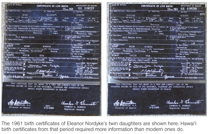 """The Honolulu Advertiser published this image and accompanying caption, which depict two alleged Hawaii """"Certificates of Live Birth"""" for Eleanor Nordyke's twin daughters."""