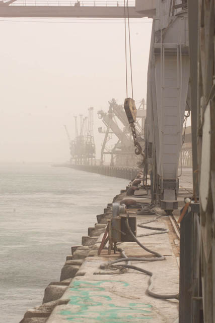 The cranes at the new port of Um Qasr sit ready to unload humanitarian assistance after being liberated March 22, 2003. The site was surveyed by members of the United States Agency for International Aid and the 4th Civil Affairs Group March 26. (Image/caption credit: DoD CENTCOM)