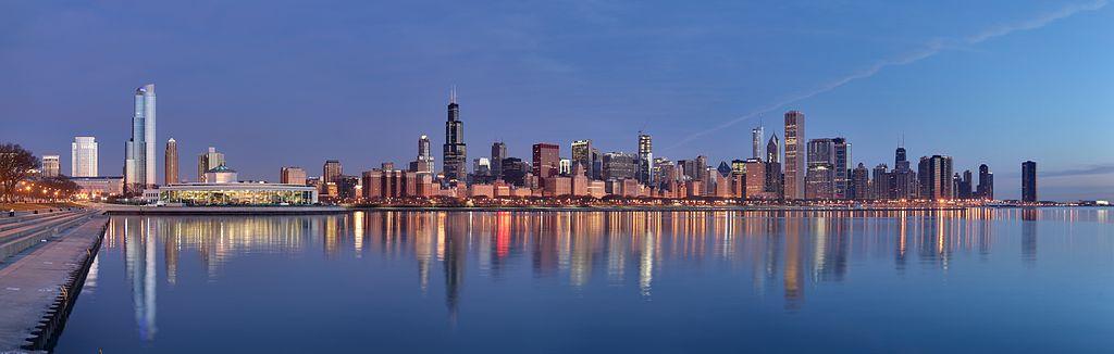 CHICAGO, IL - Skyline at sunrise. (Image credit: Daniel Schwen / Wikimedia Commons)