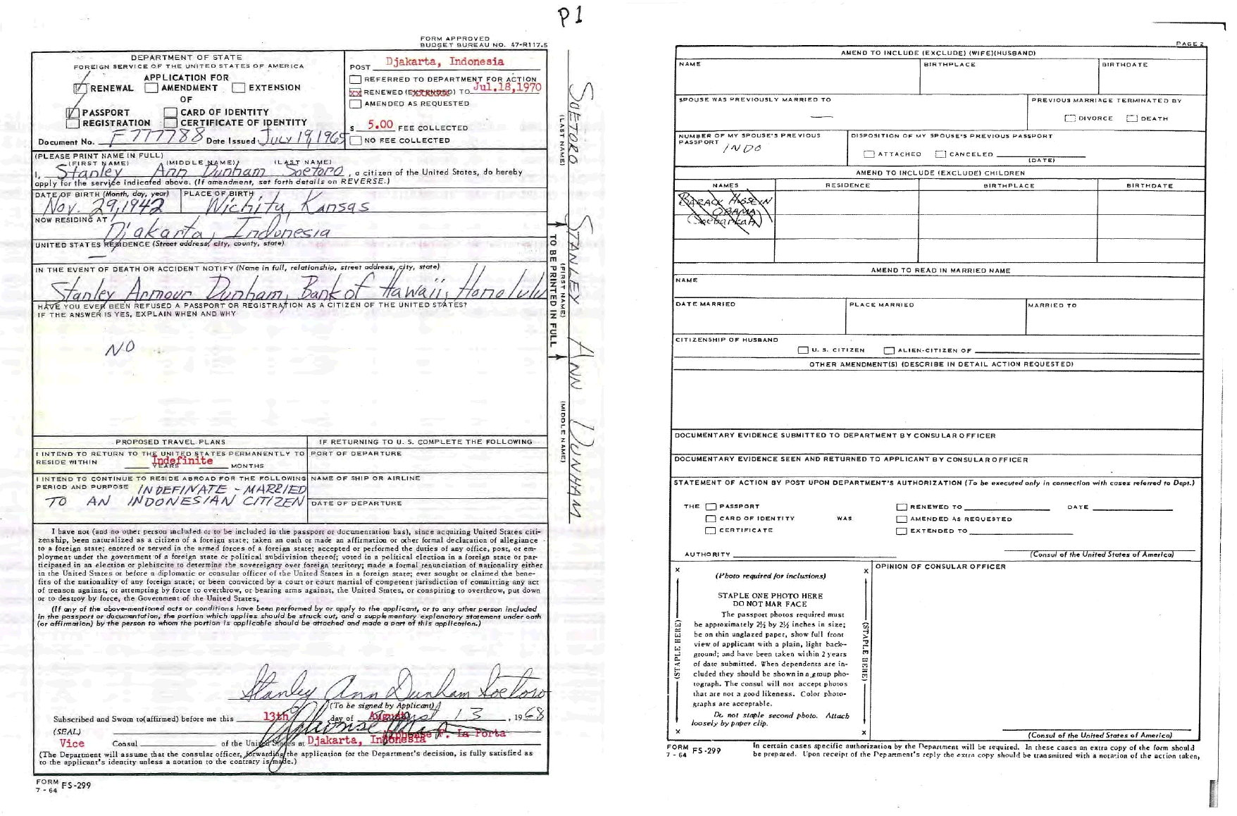 Stanley Ann Dunham Soetoro's 1968 application to renew her U.S. passport. Dunham was preparing to exclude Barack Hussein Obama (Soebarkah) from her passport, but the name was crossed out. 'Soebarkah' is possibly Barack Obama's SUBUD name.