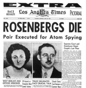 Convicted spies Julius and Ethel Rosenberg stole atomic secrets from the U.S. and were executed in 1953. (Image: LA Times)
