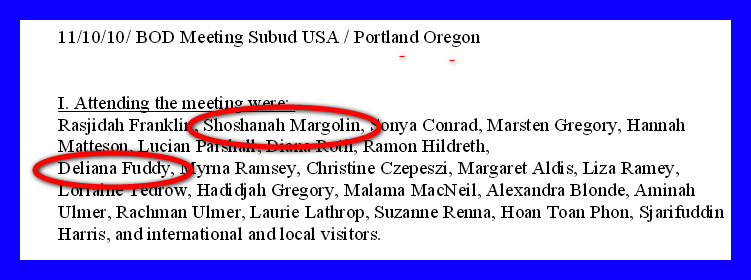 Former Subud USA chair Loretta 'Deliana' Fuddy and future Subud USA chair Sylvia 'Shoshanah' Margolin met at the Subud USA board of directors meeting in Portland, OR on November 10, 2010. Eleven weeks later Fuddy was appointed acting director of the Hawaii Department of Health. (Source: subudusa.org)