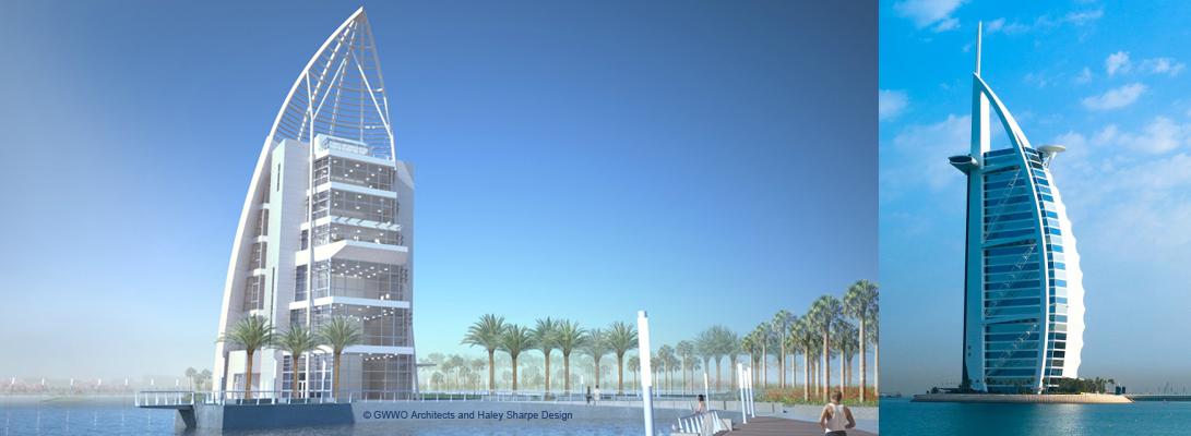 Port Canaveral's Exploration Tower closely resembles Dubai's Burj Al Arab hotel.