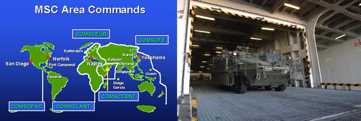 U.S. Military Sealift Command map features Port Canaveral (left) Hundreds of Strykers (right) belonging to the last combat brigade from Iraq to return onto American soil are driven down the interior ramp of the ARC Endurance, a U.S.-flagged commercial roll-on/roll-off vessel during 2010 offload operations at Port Canaveral, Fla., Oct. 6. (Photo Credit: Mr. Michael William Petersen (SDDC))