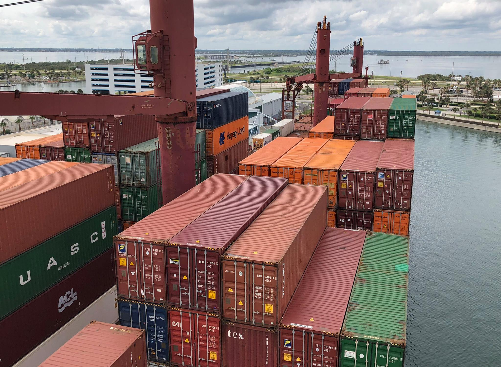 Container ship at Port Canaveral's Gulftainer cargo container terminal